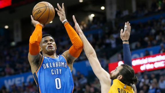 Westbrook torches Jazz with 20 points in 1st half