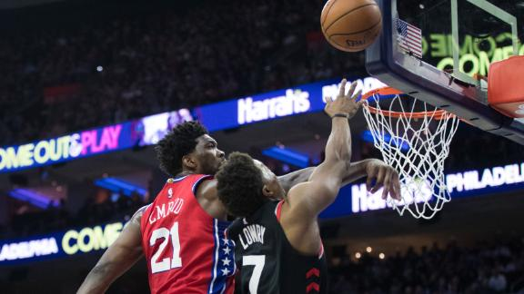 Lowe likes Embiid's chase-down blocks, Harris' confidence
