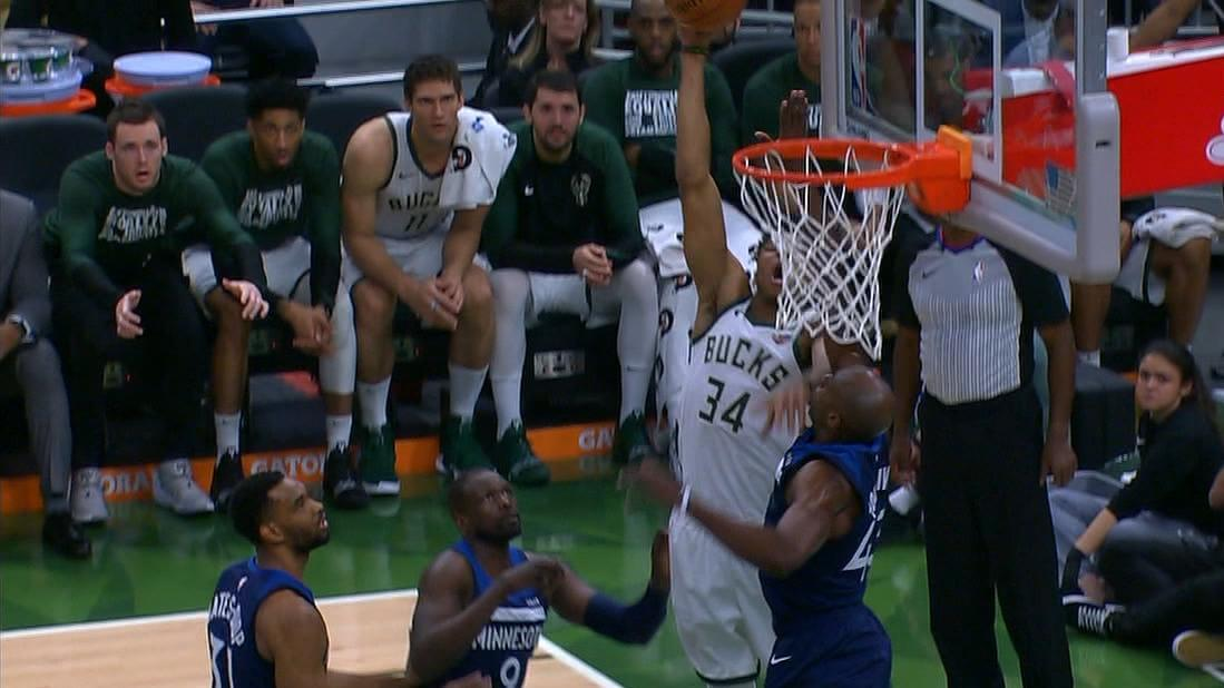 Tolliver stuffs the Greek Freak at the rim
