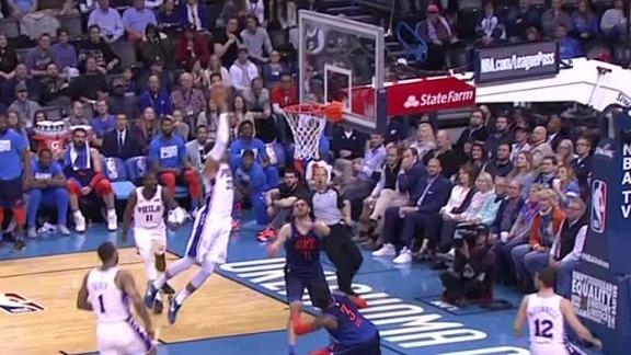 Simmons' block leads to Harris dunk