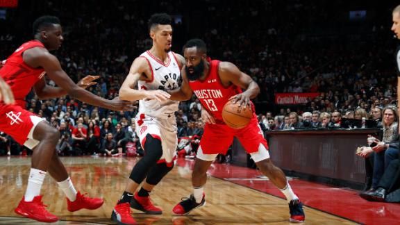 Harden scores 35 to help the Rockets withstand the Raptors