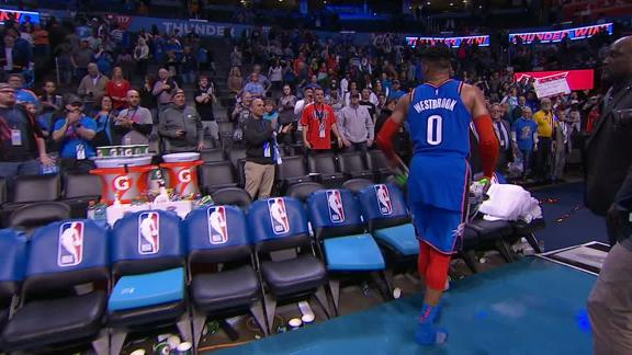 Westbrook tosses his shoes to OKC fans