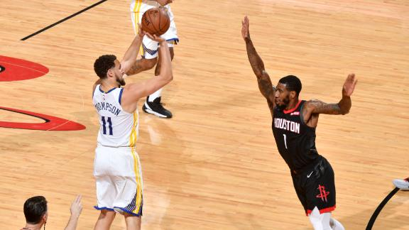 Thompson leads Warriors to first win vs. Rockets this season