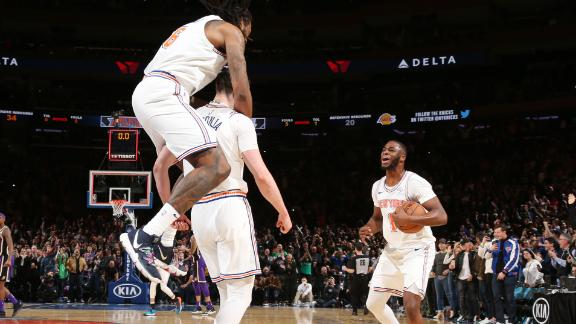 025977e3001 LeBron gets blocked in last seconds as Knicks get comeback win