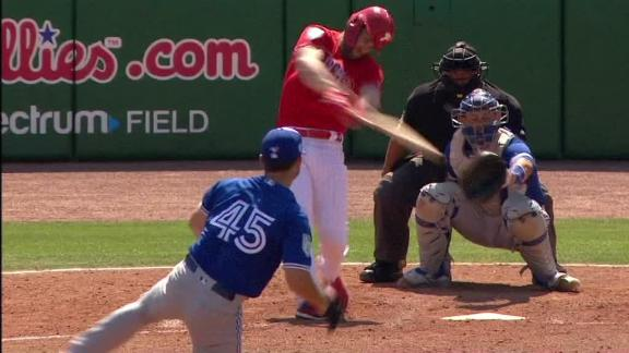 Harper hits first two HRs vs. Blue Jays