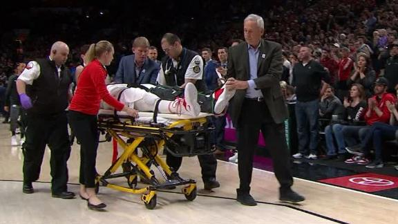 Nurkic suffers serious leg injury, stretchered off court