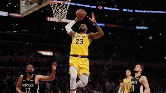 LeBron leads with double-double, Lakers blowout Wizards