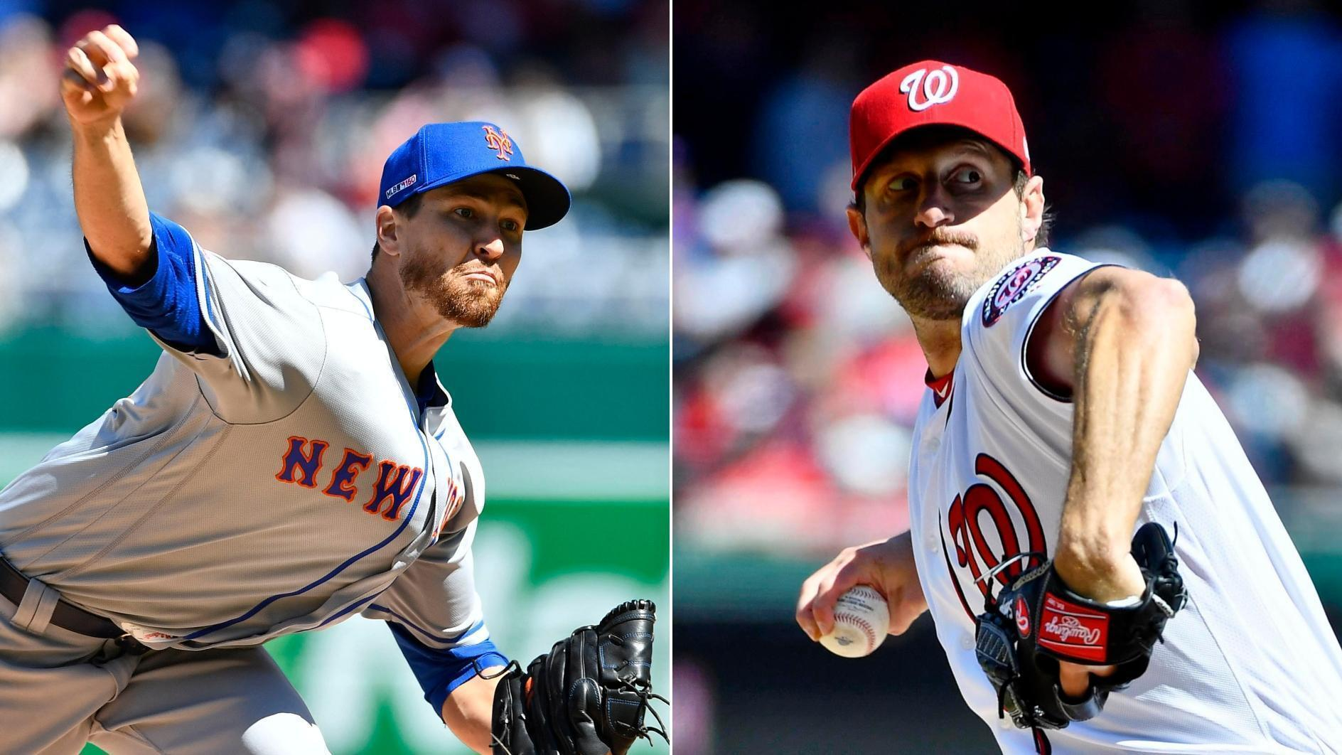 Scherzer, deGrom combine for 22 K's in opener