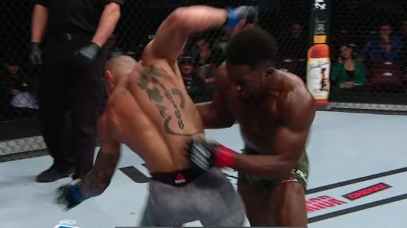 Yusuff drops Moraes with big right hand