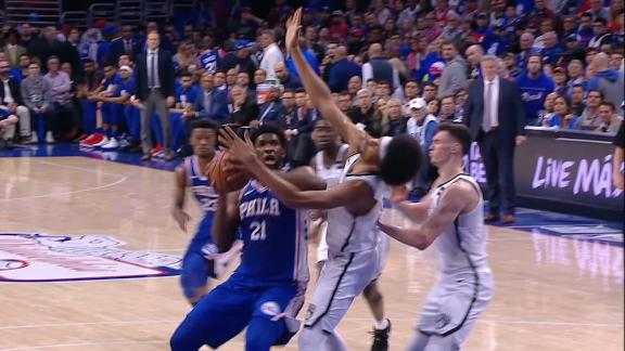 Embiid gets flagrant foul for elbowing Allen