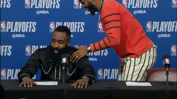Paul leaves news conference as Harden is asked all questions