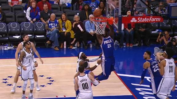 Simmons dishes to Embiid for dunk