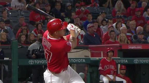 Trout knots things up with dinger to left center