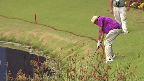 Boomer hits crazy golf shot over pond at the Zurich Classic