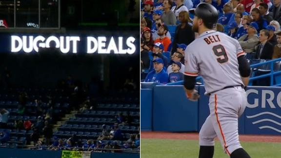 Belt's homer breaks sign at Rogers Centre