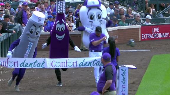 Murphy nearly collides with mascot