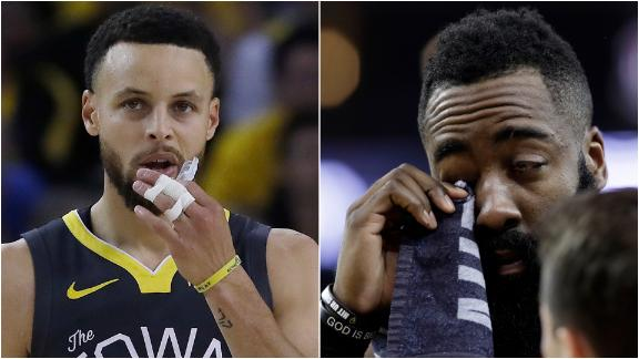 Warriors' big three take over after Curry, Harden injuries