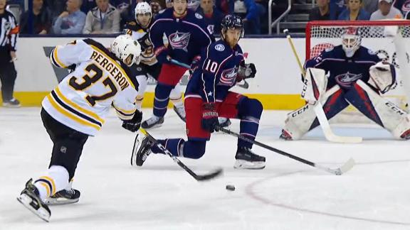 Pastrnak, Bergeron score early as Bruins even series