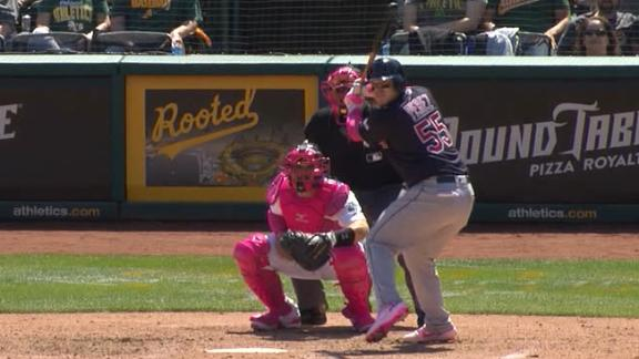 Perez hits 3-run homer in Cleveland's win vs. A's