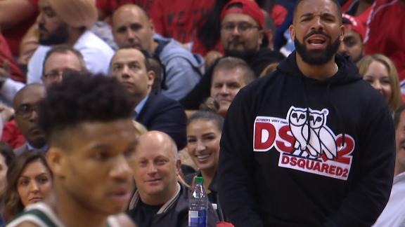 Drake trolls Giannis at the free throw line