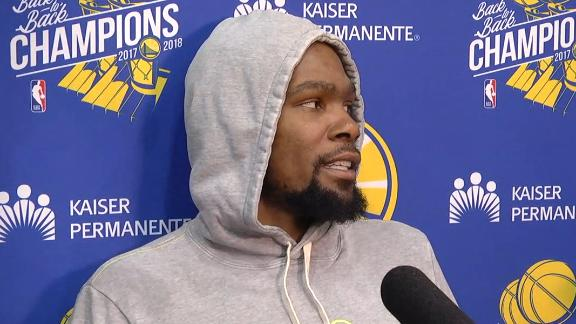 Durant corrects a questioning reporter