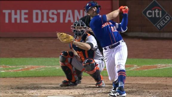 Alonso homers off the foul pole