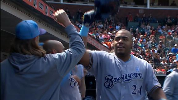 Thames, Aguilar power Brewers' win