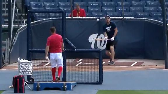 Scherzer takes ball to the face during batting practice