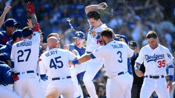Dodgers sweep Rockies behind three walk-off HRs, all by rookies