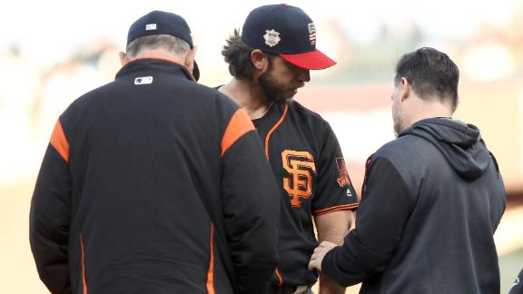Bumgarner takes line drive to elbow, leaves game