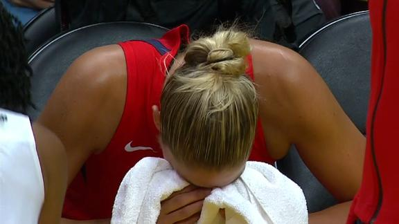 Delle Donne leaves game after face injury