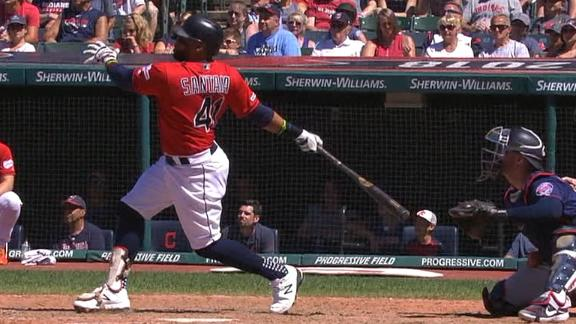Santana's solo shot puts Indians on top