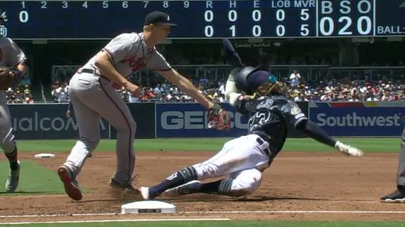 Tatis goes full Matrix on his slide to first base