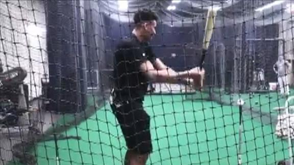 Giannis takes some swings in Yankees' batting cage