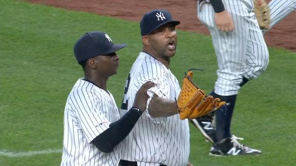 CC, Garcia exchange words, benches clear