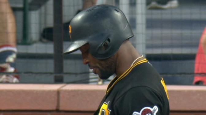 Marte refuses to take base after hit by pitch call