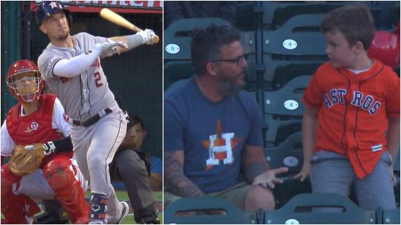 Young Astros fan throws Bregman HR back, grilled by his father