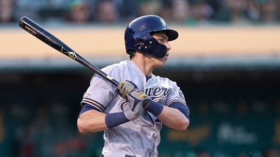 Yelich extends hitting streak to 18 with RBI double