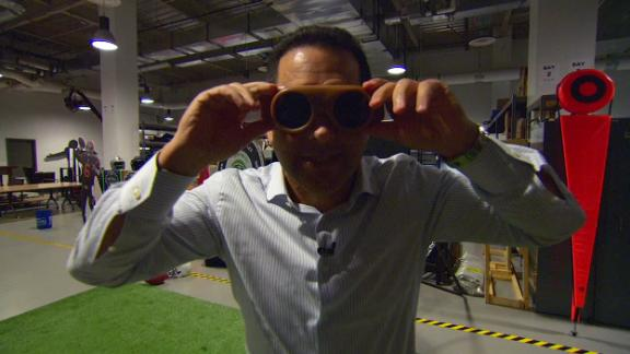 The NFL Live crew tries out Berry's 50-year-old receiving goggles