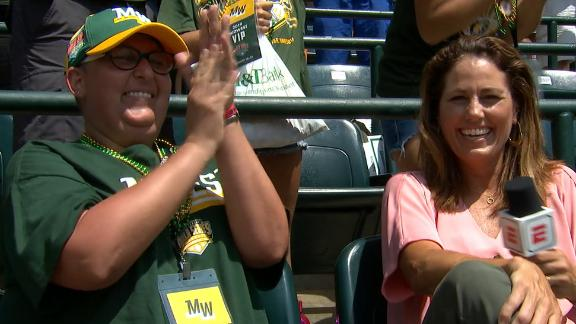 Mom battling leukemia reacts to son scoring mid-interview