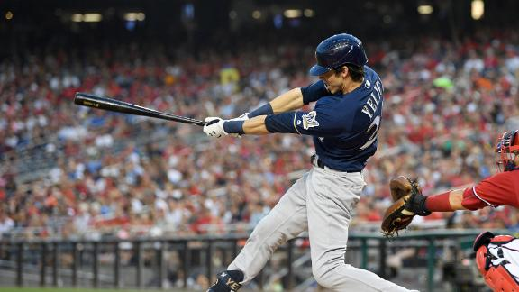 Yelich goes yard twice, Brewers tie club record with 7 HRs