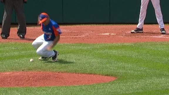 Kentucky pitcher dodges a couple of baseballs