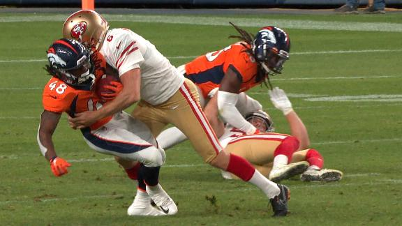49ers kicker lays out Broncos' kick returner