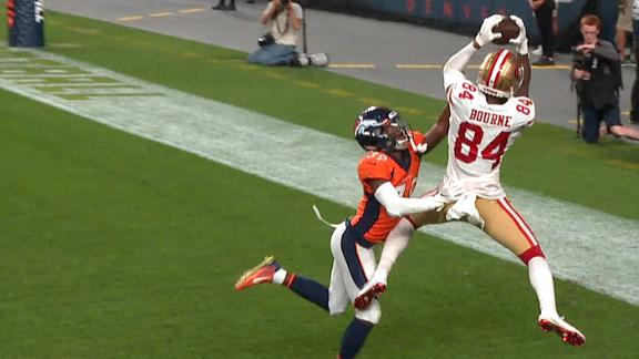 Bourne gets feet down for 49ers' TD