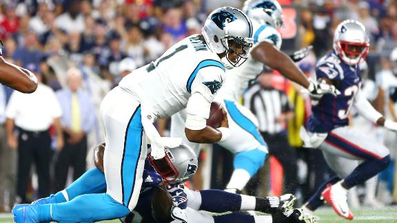 Cam leaves the game after sack with foot injury