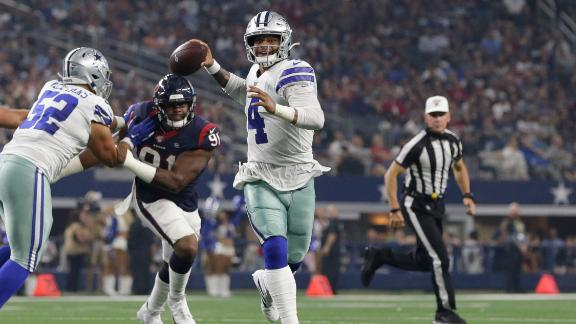 Dak escapes pressure, hits Gallup for a TD
