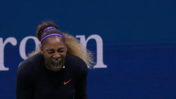 Serena lets out a scream after winning a game point - ESPN