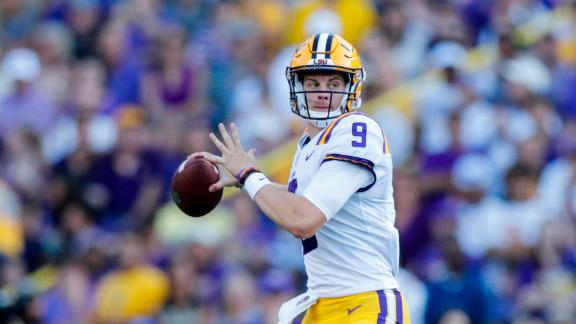 Burrow throws 5 TDs, leading LSU to rout in opener