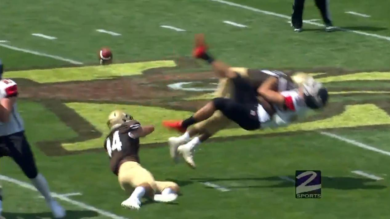 Lehigh crushes St. Francis punter, picks up loose ball for TD
