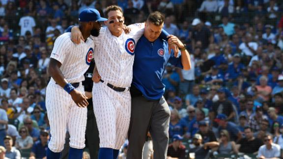 Rizzo helped off after injuring ankle
